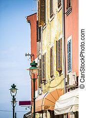 Mediterranean, colorful buildings
