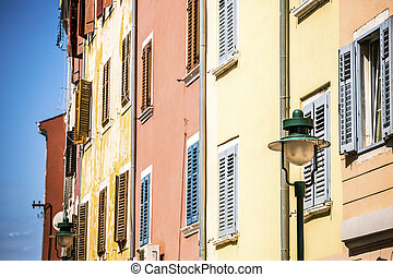 Mediterranean, colorful buildings