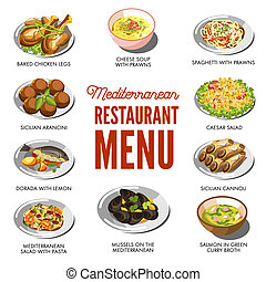Mediterranean cuisine food traditional dishes of baked...