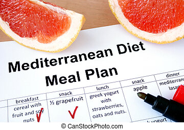 Mediterranean diet meal plan and grapefruit. Weight loss concept.