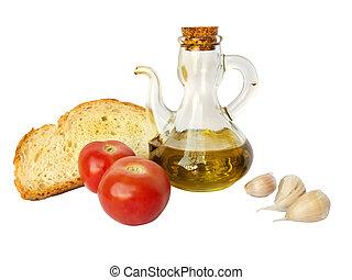 Mediterranean diet isolated win white: Olive oil, bread, ...