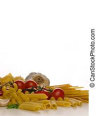 mediterranean diet - raw pasta with tomato garlic and basil