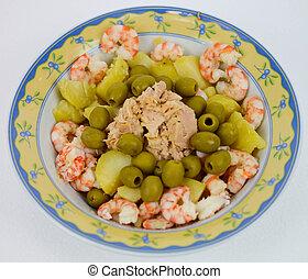 mediterranean diet shrimps tuna potatoes olives oil and salt