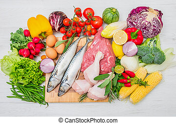 Mediterranean diet with fish, meat and vegetables
