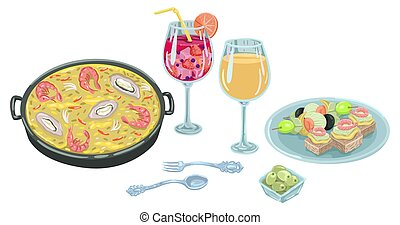 Mediterranean dinner, paella in a frying pan, wine and snacks on a plate. Vector illustration