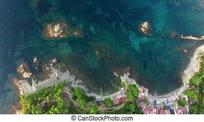 Mediterranean Fishing Village Aerial Drone View