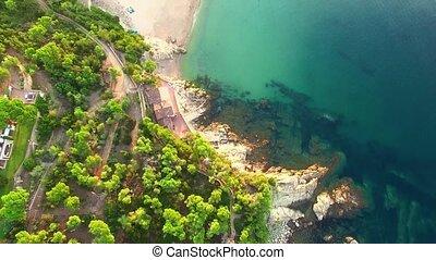 Mediterranean Fishing Village Aerial Drone View