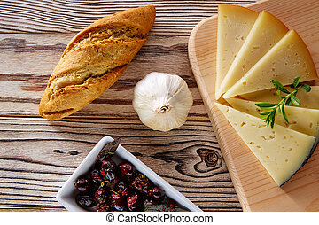 Mediterranean food bread loaf garlic and cheese -...