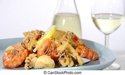 Mediterranean food, fried fish mix