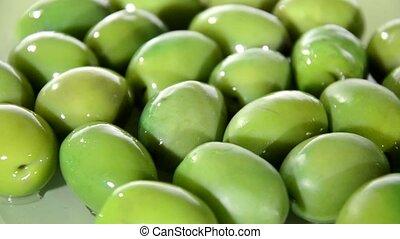Mediterranean food, olives - Mediterranean olives rotating...