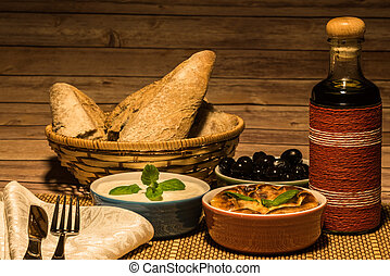 Mediterranean food on wooden table