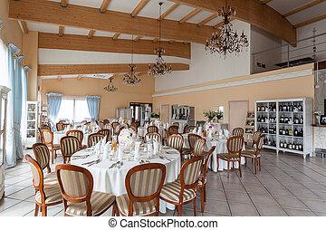 Mediterranean interior - reception tables