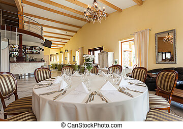 Mediterranean interior - set table