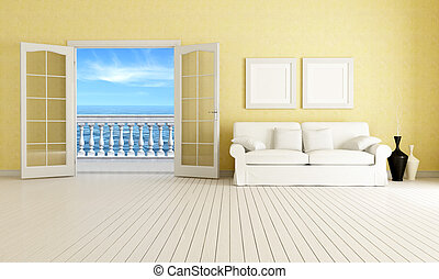 living room of a mediterranean beach house - rendering - the image on background is a my rendering composition