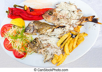Mediterranean menu fish and vegetables