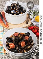 mediterranean mussels in a deep plate