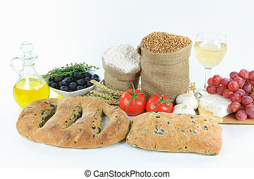 Mediterranean olive breads and food raw products.