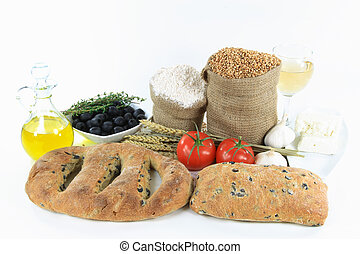 Mediterranean olive breads and food products.