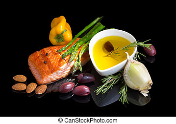 Mediterranean omega-3 diet. Fish steak, olives, nuts and ...