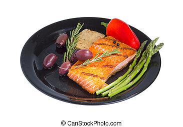 Mediterranean omega-3 diet. - Grilled salmon steak on plate ...