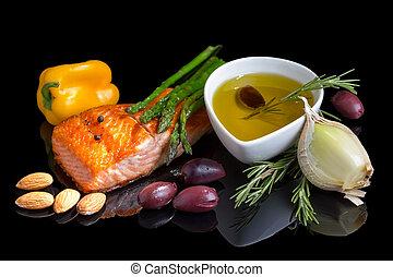Mediterranean omega-3 diet. Fish steak, olives, nuts and...