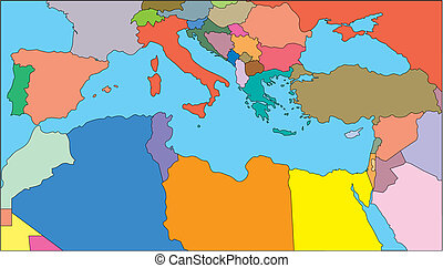 Mediterranean Regional Map with individual Countries, Editable Color. Perfect for Sales and Marketing Presentations. Countries are individual objects that can be colored and changed so you can build a regional territory map or develop an illustration. Great for building sales and marketing territory...