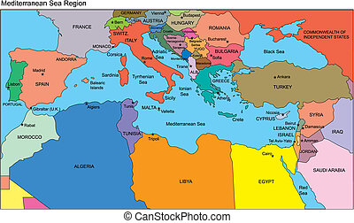 Mediterranean Regional Map with individual Countries, Editable Color, names, Perfect for Sales and Marketing Presentations. Countries are individual objects that can be colored and changed so you can build a regional territory map or develop an illustration. Great for building sales and marketing ...
