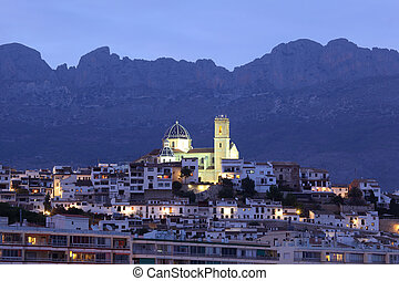 Mediterranean resort Altea illuminated at dusk, Spain