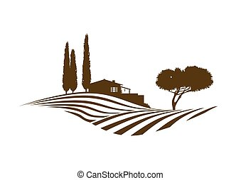 rural mediterranean vector landscape with fields, house and cypresses