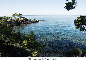 View of Capelan peninsula, in Bandol of the Mediterranean sea and french riviera shores