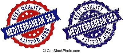 Mediterranean Sea stamps with Best Quality caption, blue grunge and blue and red clean versions. Vector seal print imitation with grunge style.