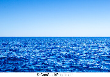 Mediterranean Sea blue seascape with clear horizon line and ...