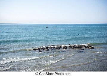 Mediterranean Sea, Sitges - Coast of the Mediterranean Sea,...