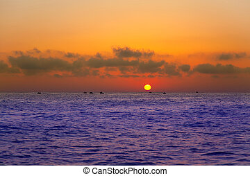 Mediterranean sea sunrise sunset with sun