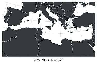 Mediterranean sea map with South Europe, Notrh Africa and...