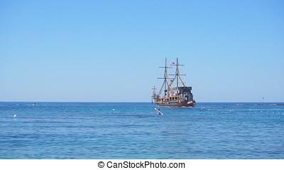 Mediterranean Sea wake behind Cruise ship. 4K -...