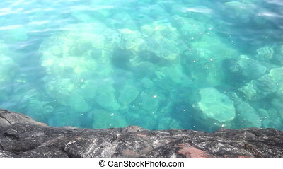 Mediterranean sea with clear water - Rocky shore and waves...