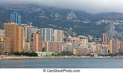 Aparment Buildings Skyscrapers at Mediterranean Sea in Monaco