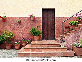 Mediterranean style house entrance