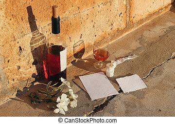 Mediterranean summer wedding composition. Blank paper ...