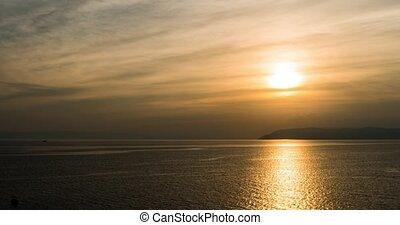 Mediterranean. Sunset over the sea in Croatia in 4k