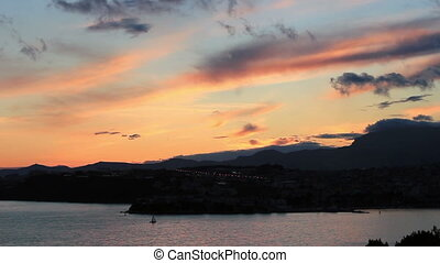 Mediterranean sunset - Sunset over Adriatic sea, Split,...