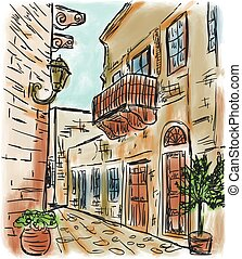 Mediterranean town painting - The Mediterranean town house...