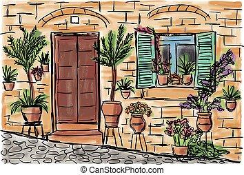 Mediterranean town painting