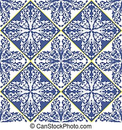 Mediterranean traditional blue and white tile pattern. Arabesque ceramic tile.
