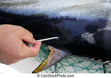 Mediterranean tuna fish mark and release