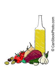 Mediterranean vegetable still life - Mediterranean...