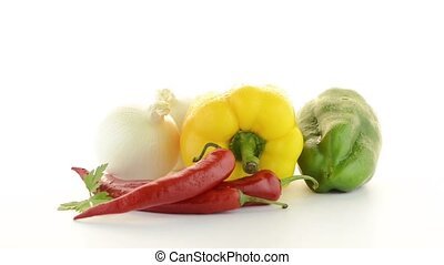 Mediterranean vegetables with red chilli peppers, parsley...