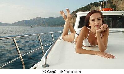 Mediterranean Yacht Charter - Bikini Woman Enjoying Summer...
