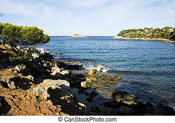 Mediterraneen sea and shores - View from Capelan, in Bandol...